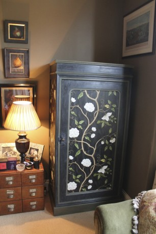 Wallpapering antique furniture