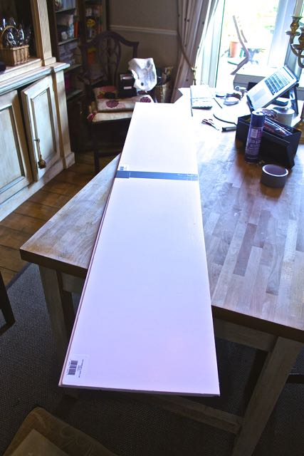 Foam board made form two long pieces and joined with tape