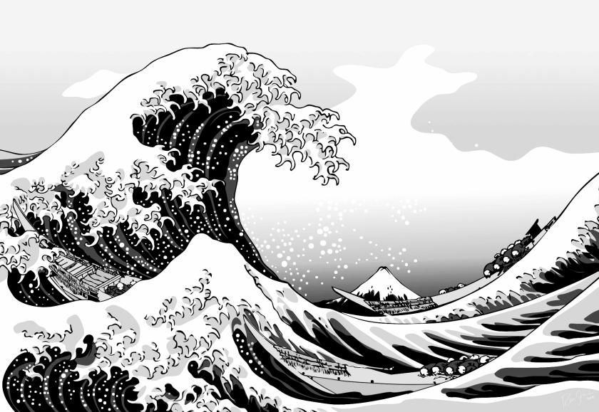 paintings_waves_boats_grayscal_2000x1379_wallpapername.com
