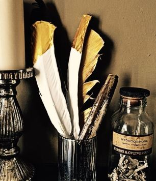 Plaster and Gold Leaf Feathers