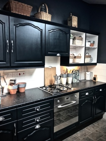 Lamp Black eggshell by Farrow & Ball on the Cabinets